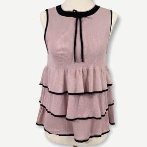 ZARA Sz M Knit Pink & Black Ruffled Top Adorable!